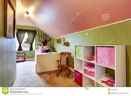kids room with green in pink color stock photo image 42954599
