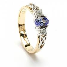 celtic engagement rings knot engagement ring with tanzanite and diamonds in 14k gold