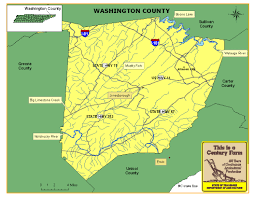 Tennessee Highway Map by Washington County Tennessee Century Farms