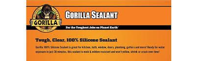 Clear Bathroom Sealant Amazon Com Gorilla 100 Silicone Sealant 2 8 Oz Clear Home