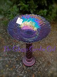 Glass Garden Decor Glass Bowl Pedestal Bird Bath 65 Unique Upcycled Recycled
