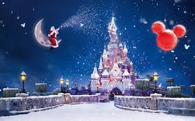 happy christmas santa showering snow on disney hd wallpaper