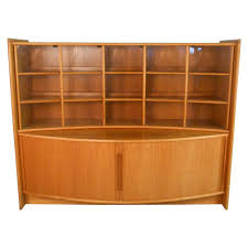 mid century modern teak tambour sideboard and display for