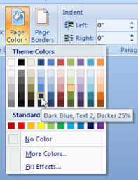 change the page background color in word 2007 documents