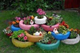 Garden Decorating Ideas Creative Idea Colorful Tires Flower Pots Garden Decorating