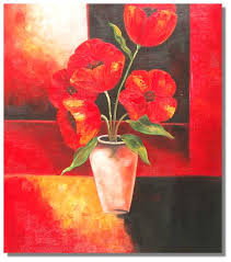 Vase With Red Poppies 1 One Canvas Gallery Oil Painting Shop Selling Hand Craft