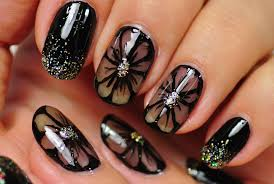nail art black nail design black flowers youtube