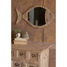 Home Decor Mirrors Rustic Wooden Fish Mirror At Seasideinspired Com Beach Ocean Home