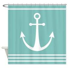 Nautical Anchor Shower Curtain Blue Anchor On Mint Stripes Shower Curtain Beach Shower Campers