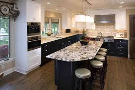 white kitchen brown cabinets with marble island kitchens black