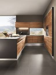 lacquered linear wooden kitchen kyton by varenna by