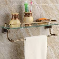 Glass Bathroom Shelf With Towel Bar Adorable 10 Bathroom Shelf Towel Bar Design Decoration Of Best 25