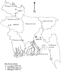 Map Of Monsoon Asia by Fig 1 Map Of Bangladesh Showing The Location Of On Farm Trial