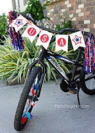 4th Of July Bunting Decorations Bike Flags For The Annual 4th Of July Parade Diy Pinterest