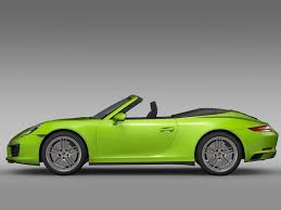 green porsche convertible porsche 911 carrera 4s cabriolet 991 2016 3d model max obj 3ds fbx