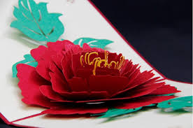 3d paper cut beautiful peony greeting cards laser cut pop up