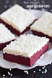 red velvet sugar cookie bars with cream cheese frosting the