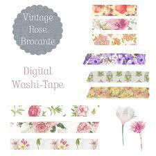 Brocante Vintage Paris 11 Vintage Rose Brocante Digital Tape Floral Set U2013 Download