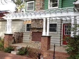 large pergola open porch with brick column bases pergolas