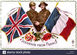 Ww2 Allied Flags French World War Two Postcard A British And French Boy As Allies