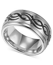 steel rings images Triton men 39 s stainless steel ring black design wedding band tif