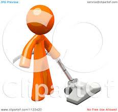 clipart of a 3d vacuuming orange man royalty free cgi