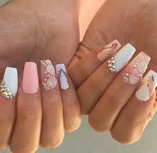 White Pink Nail Inspire Nails Pretty Pink Nail Gold Diamonds White