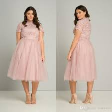 tea length plus size prom dresses 2017 high neck pink lace