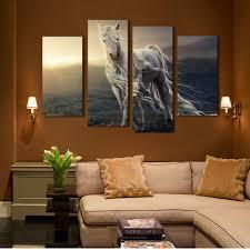 aliexpress com buy 4 pane running white horse wall print