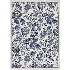 Blue And White Area Rugs Mohawk Blue Jacobean Woven Area Rug Walmart