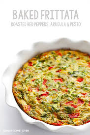 baked frittata with roasted red peppers arugula and pesto