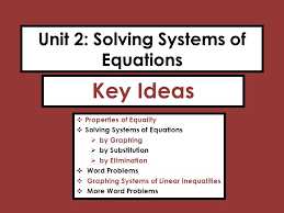equality solving systems of equations by graphing by substitution by elimination word problems graphing systems of linear inequalities