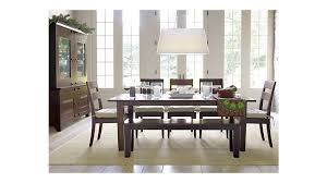 Dining Room Halo Ebony Round Table With  Glass Top Crate And - Brilliant crate and barrel bedroom furniture home
