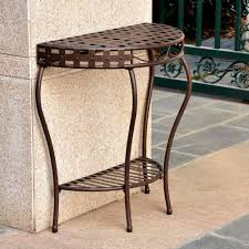 Cast Iron Patio Table And Chairs by Table Outdoor Half Moon Wrought Iron Patio Console 2 Tier Basket
