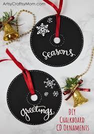 diy chalkboard paint cd ornaments for
