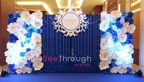 wedding backdrop blue blue wedding paper flowers wall wedding decor stage backdrop