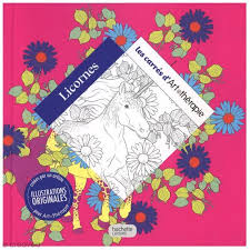 Livre coloriage adulte anti stress  17 x 17 cm  Licornes  100