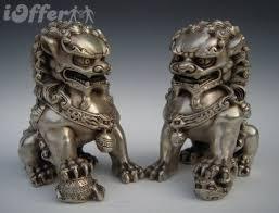 lion foo dog argent bronze fu foo dog guardian lion statue pair for sale