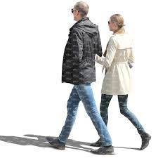 couple in spring coats walking arm in arm cut out people vishopper