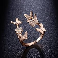 butterfly rings gold images Lovely butterfly ring rose gold plated platinum plated jpg