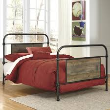 Bedroom Furniture Wood And Metal Twin Metal Bed With Reclaimed Wood Look Rustic Finish Panels By