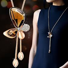 long crystal tassel necklace images Classic crystal butterfly tassel long necklace women bijoux new jpg
