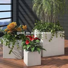 3 pc white resin wicker balcony decorative square planters large