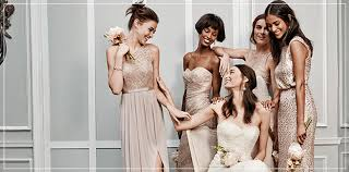 davids bridal hairstyles metallic wedding colors gold silver bridesmaid dresses