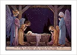 angels at manger of baby jesus christmas card margaret tarrant