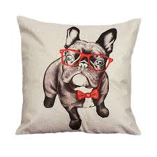 Decorative Dog Pillows Aliexpress Com Buy 2017 Cute Pillow Case Animal Dog With Glasses