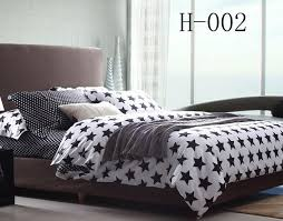 Black And White King Bedding Black White Stars Full Queen King Size 100 Cotton Bedding Sets