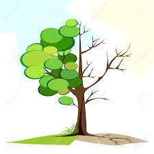 illustration of tree half of green leaf and half royalty