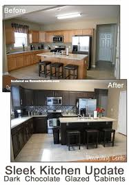 Before And After Pictures Of Painted Kitchen Cabinets Sleek Dark Chocolate Painted Cabinets Brown Kitchens Chocolate