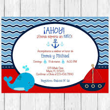 ahoy it u0027s a boy whale baby shower spanish invitation